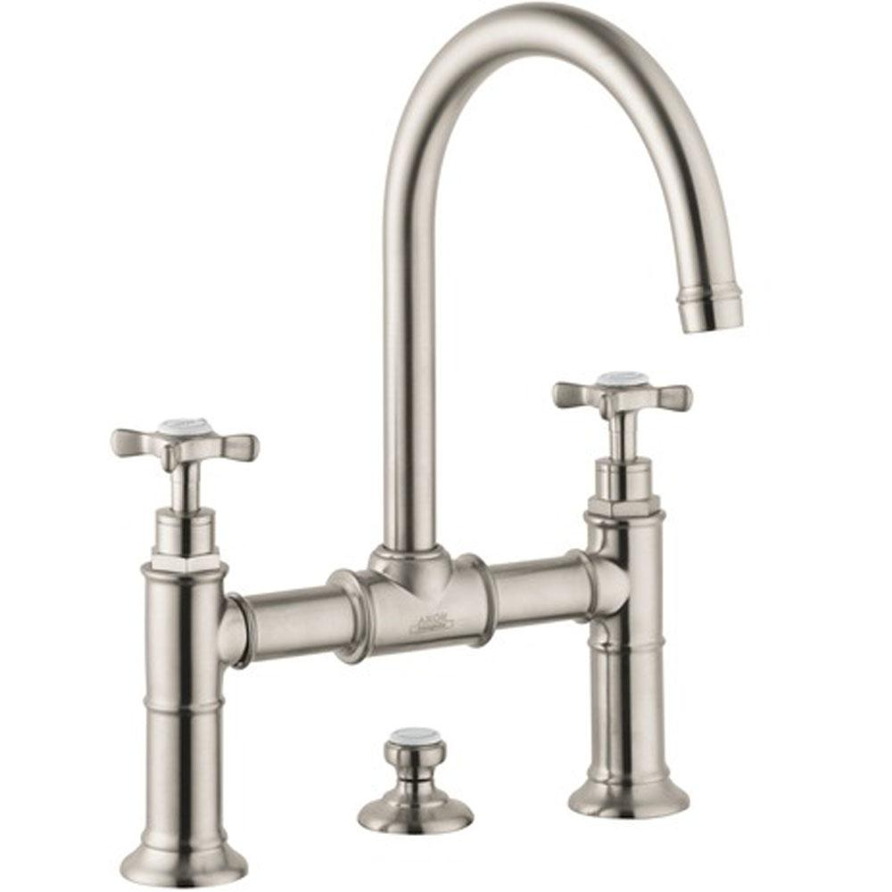 Axor AXOR Montreux 2-Handle Faucet 220 with Cross Handles and Pop-Up Drain, 1.2 GPM in Brushed Nickel