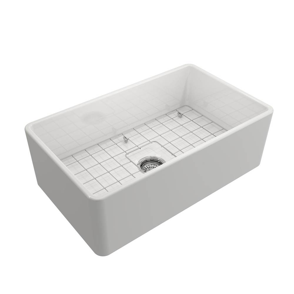 Barclay Crisfield 30'' Single Bowl Fireclay Farmer Sink-White