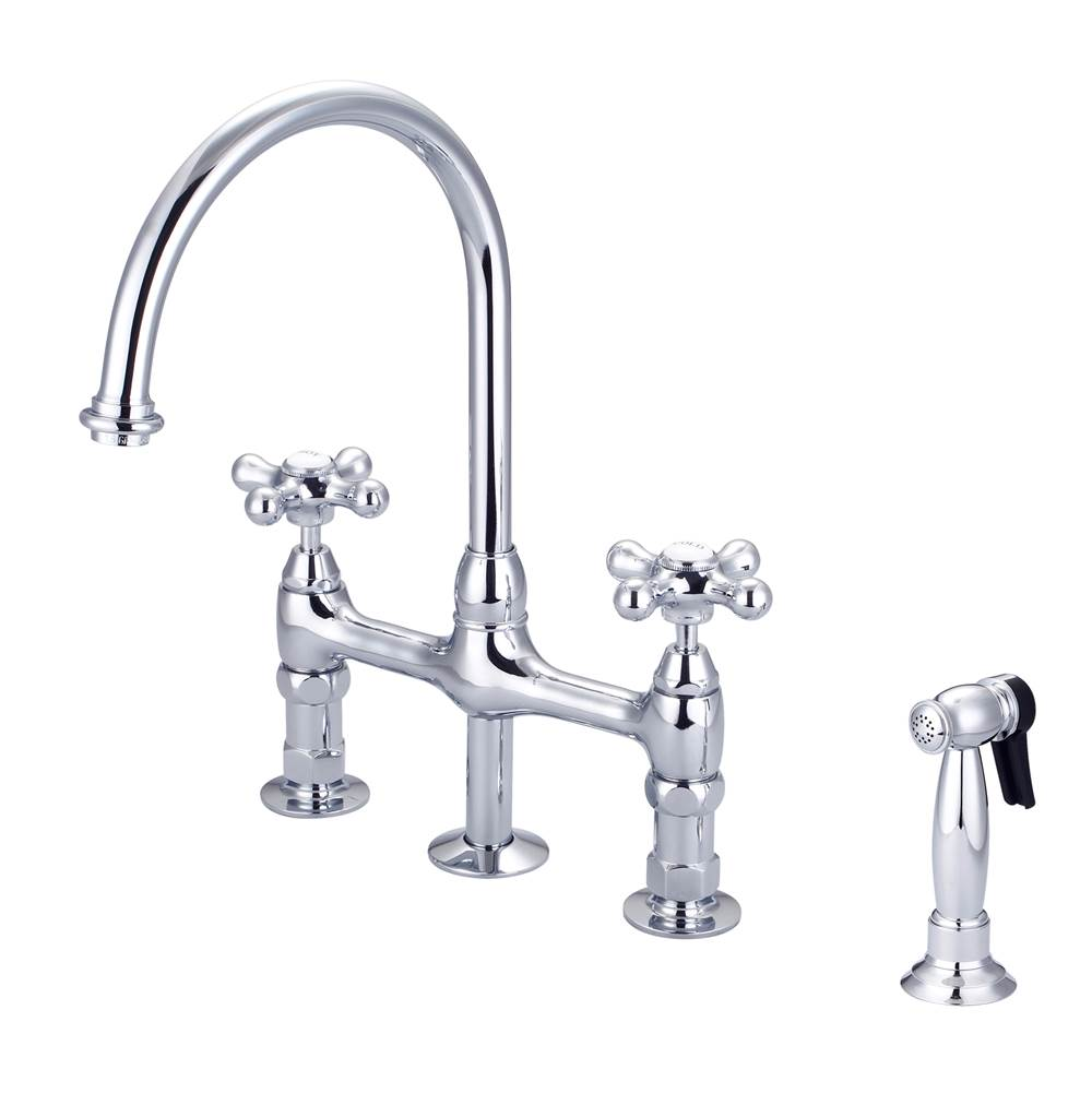Barclay Harding Kitchen Bridge Faucet Sidespray & Metal Cross Hdl,CP