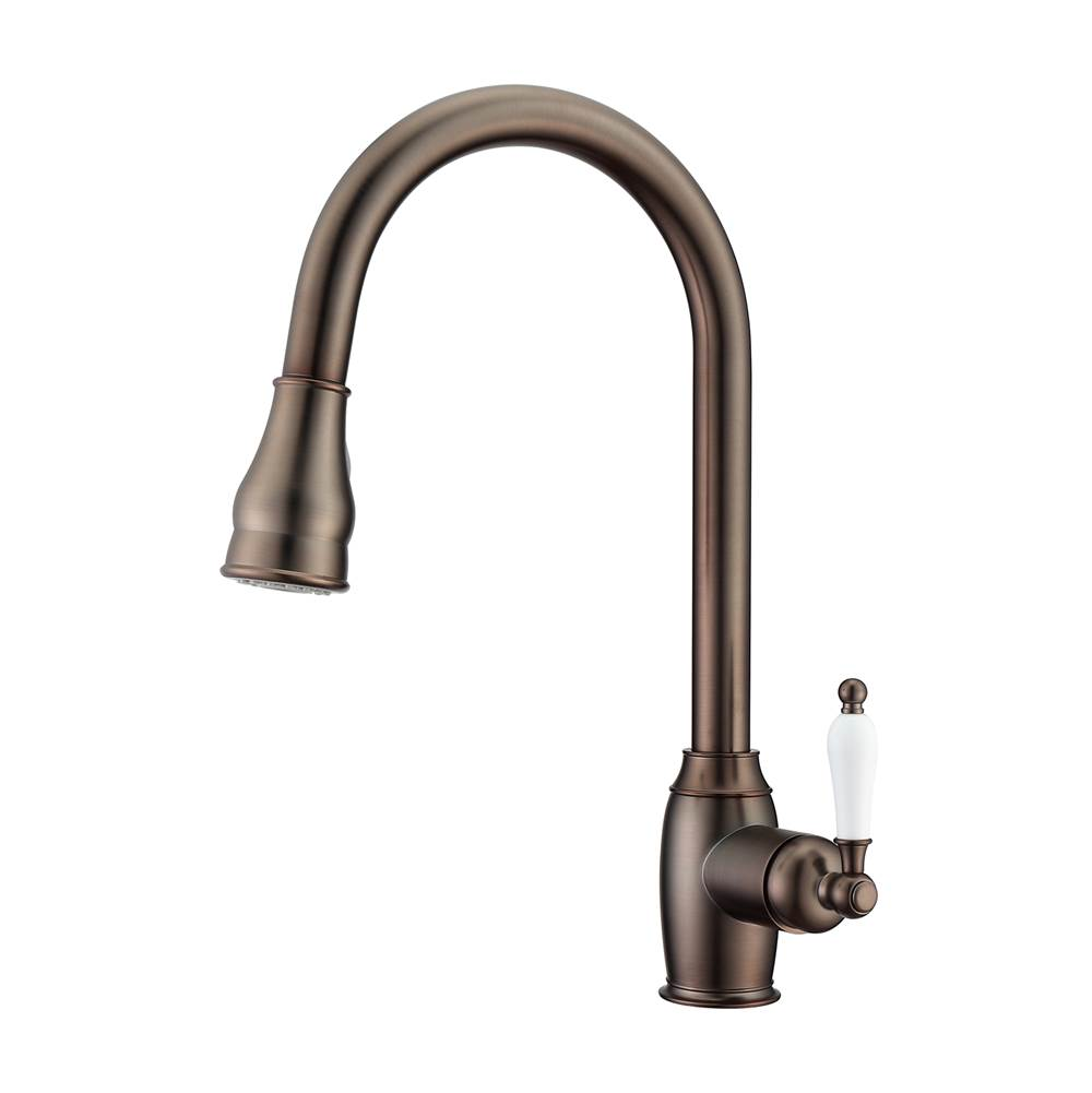Barclay Bay Kitchen Faucet,Pull-Out Spray,Porcelain Handles,ORB