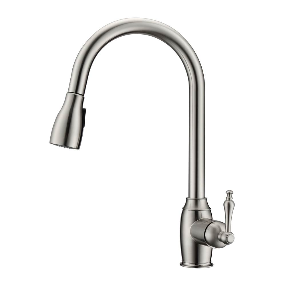 Barclay Bistro Kitchen Faucet,Pull-Out Spray, Metal Lever Handles, BN