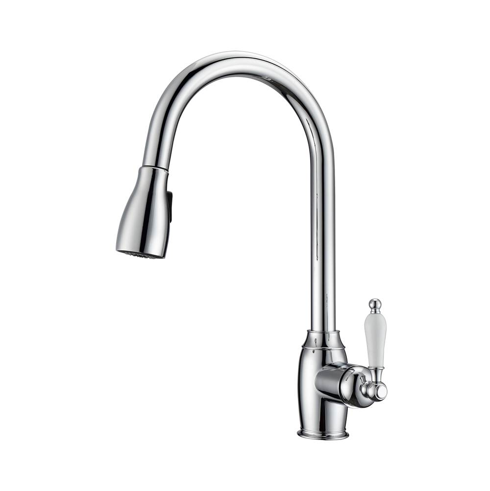 Barclay Bistro Kitchen Faucet,Pull-Out Spray, Porcelain Handles, CP
