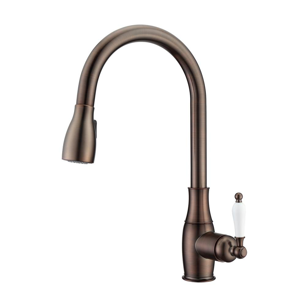 Barclay Cullen Kitchen Faucet,Pull-OutSpray, Porcelain Handles, ORB