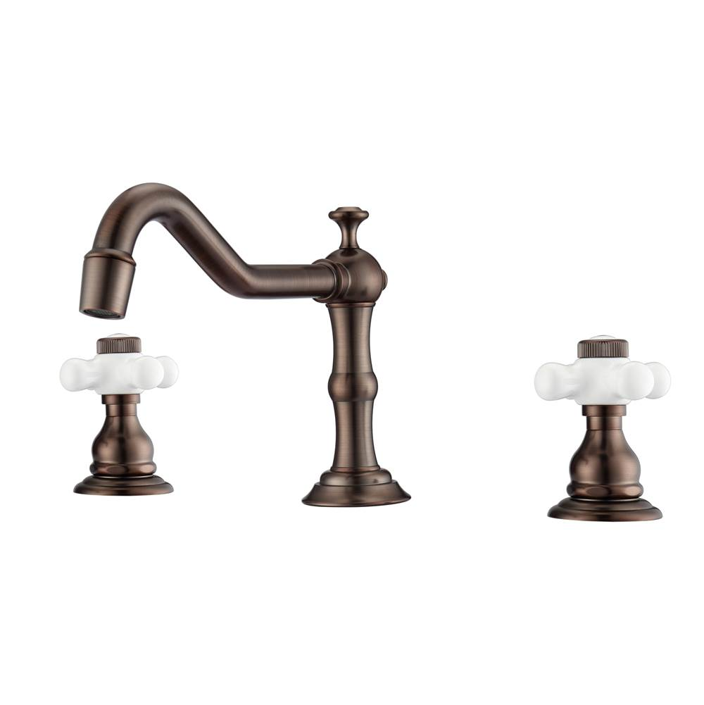 Barclay Roma 8''cc Lav Faucet, with Hoses,Porcelain Cross Hdls,ORB