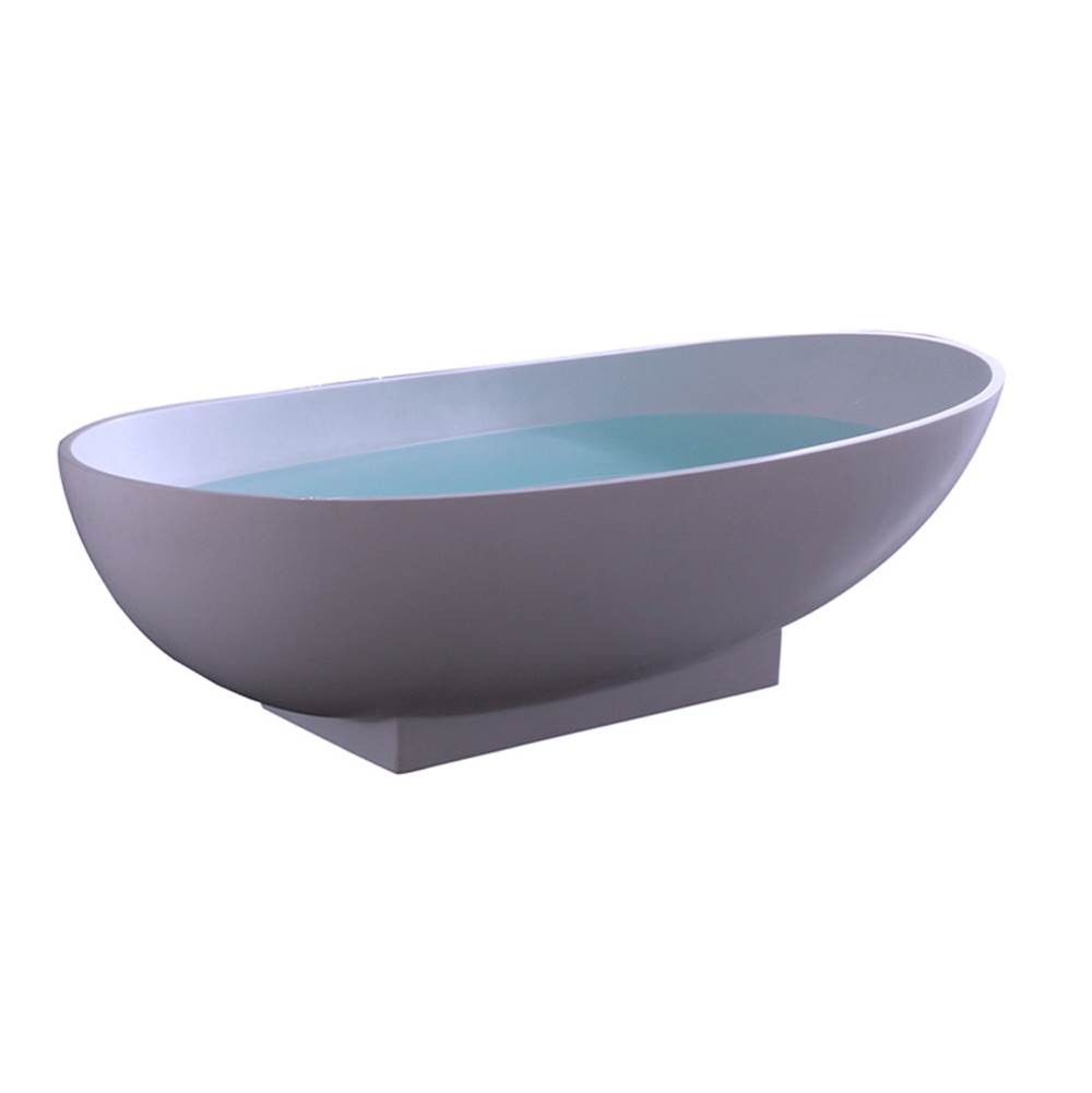 Barclay Carlyle Resin Oval Tub, WH70'', No Holes, w/ OF and Drain