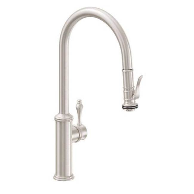 California Faucets Pull-Down Kitchen Faucet with Squeeze Handle Sprayer  - High Spout