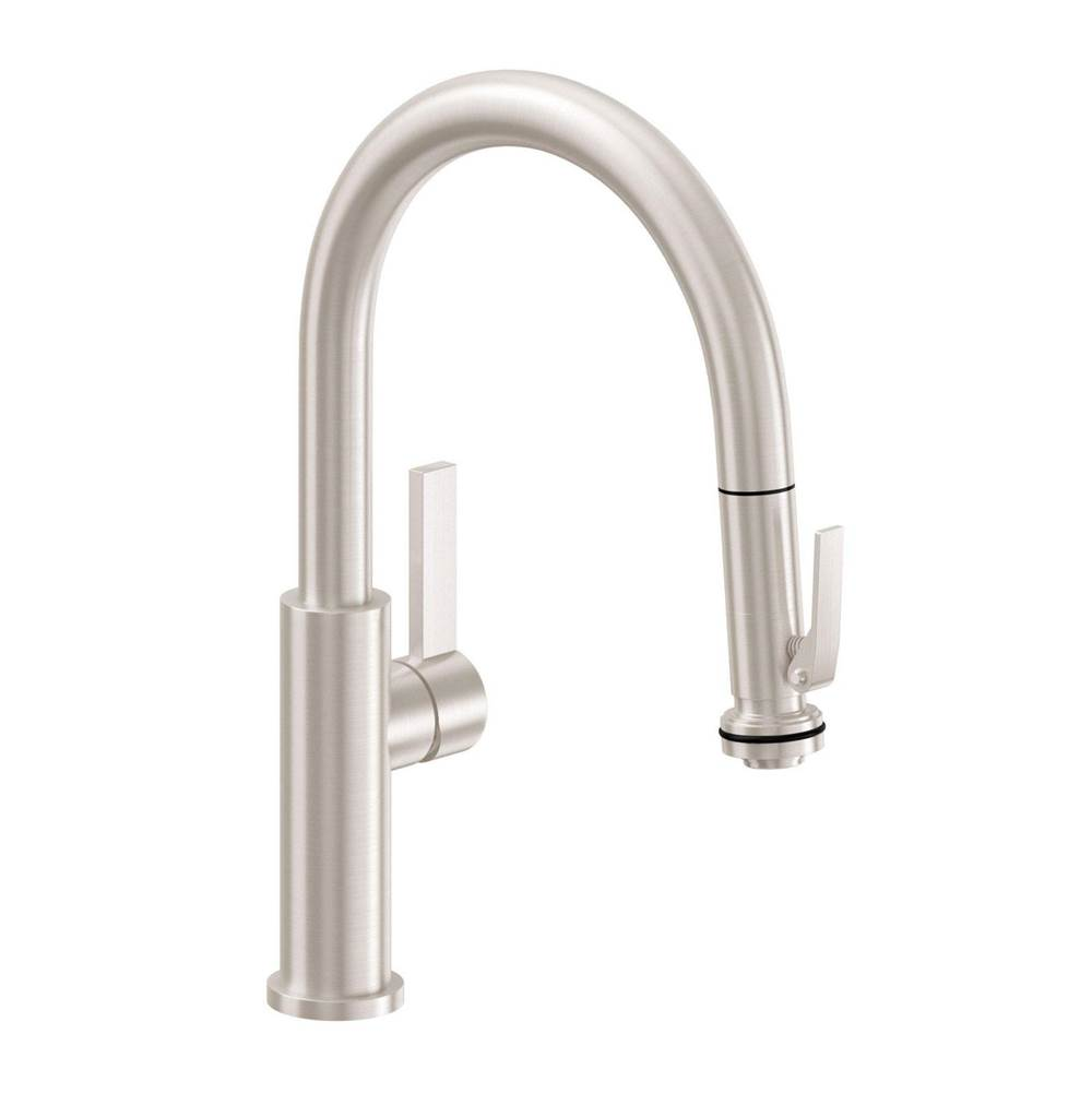 California Faucets Pull-Down Kitchen Faucet with Squeeze Handle Sprayer - Low Spout