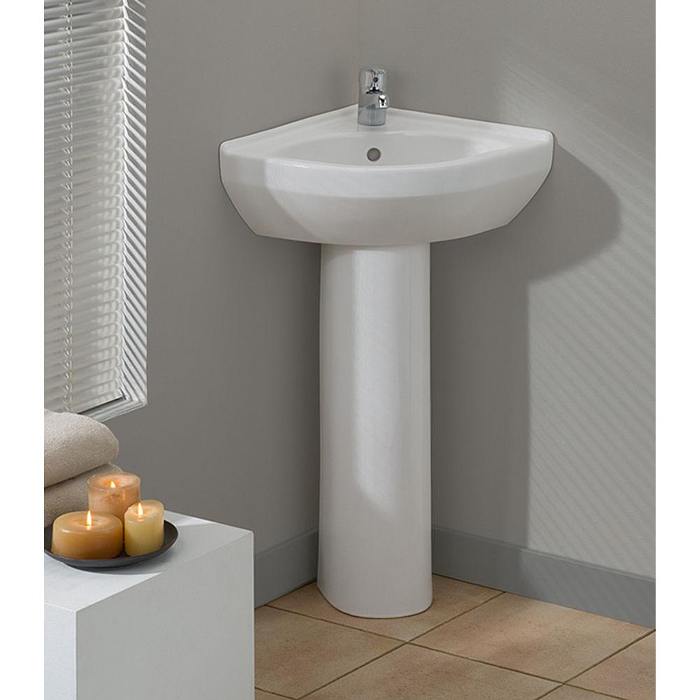 Cheviot Products   944 WH 1   PETITE Corner Pedestal Sink