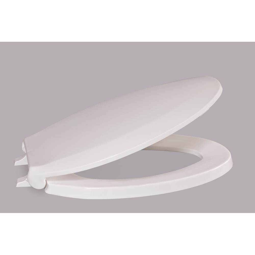 Centoco Luxury Plastic Toilet Seat, Closed Front With Cover, White, Elongated Bowl