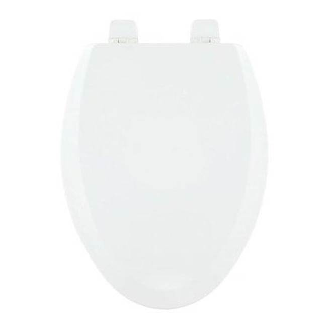 Centoco Deluxe Molded Wood Toilet Seat, Closed Front With Cover, White, Elongated Bowl.