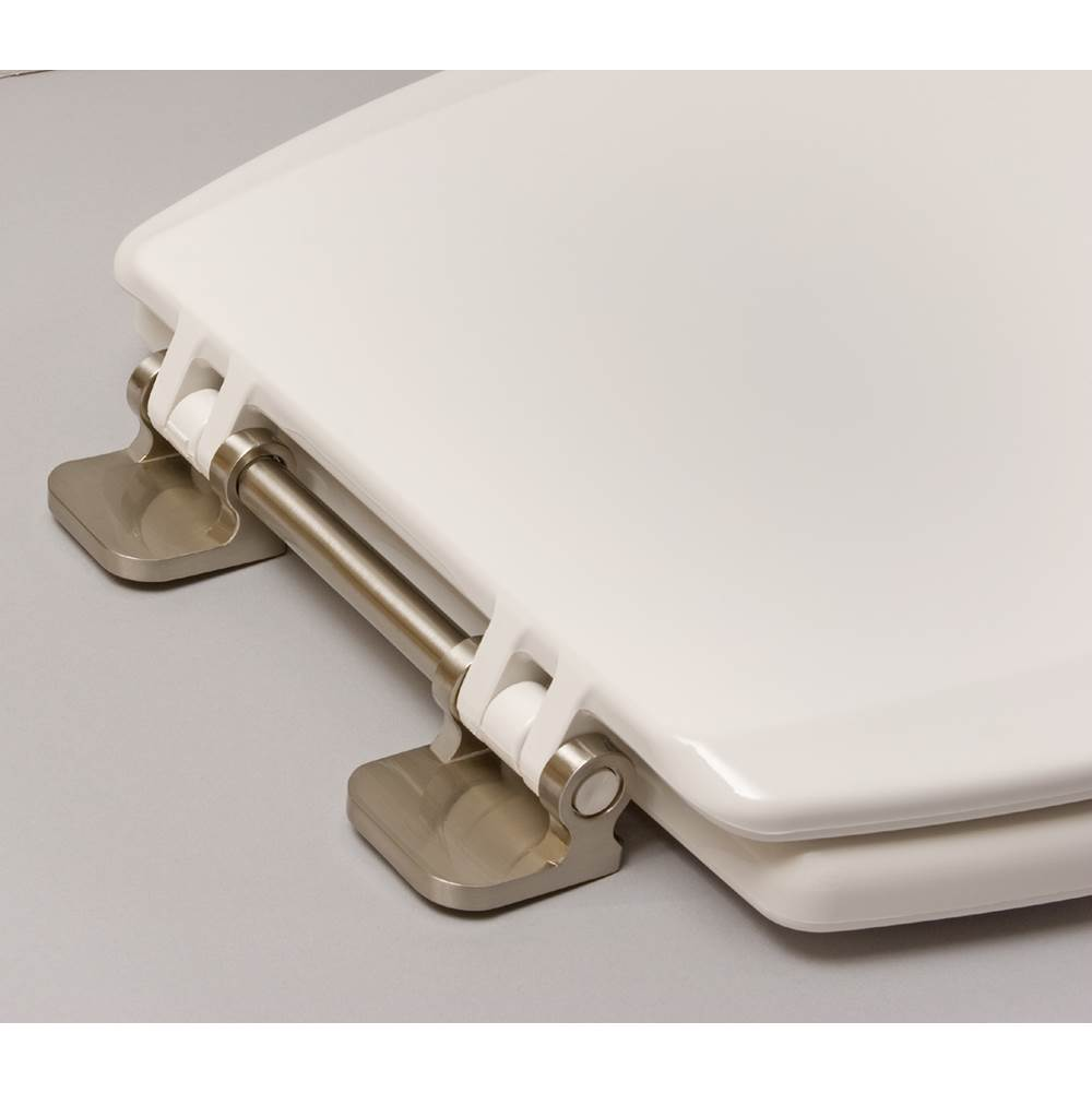 Centoco Deluxe Wood Toilet Seat, Closed Front With Cover, Brushed Nickel Hinges, White, Elongated Bowl