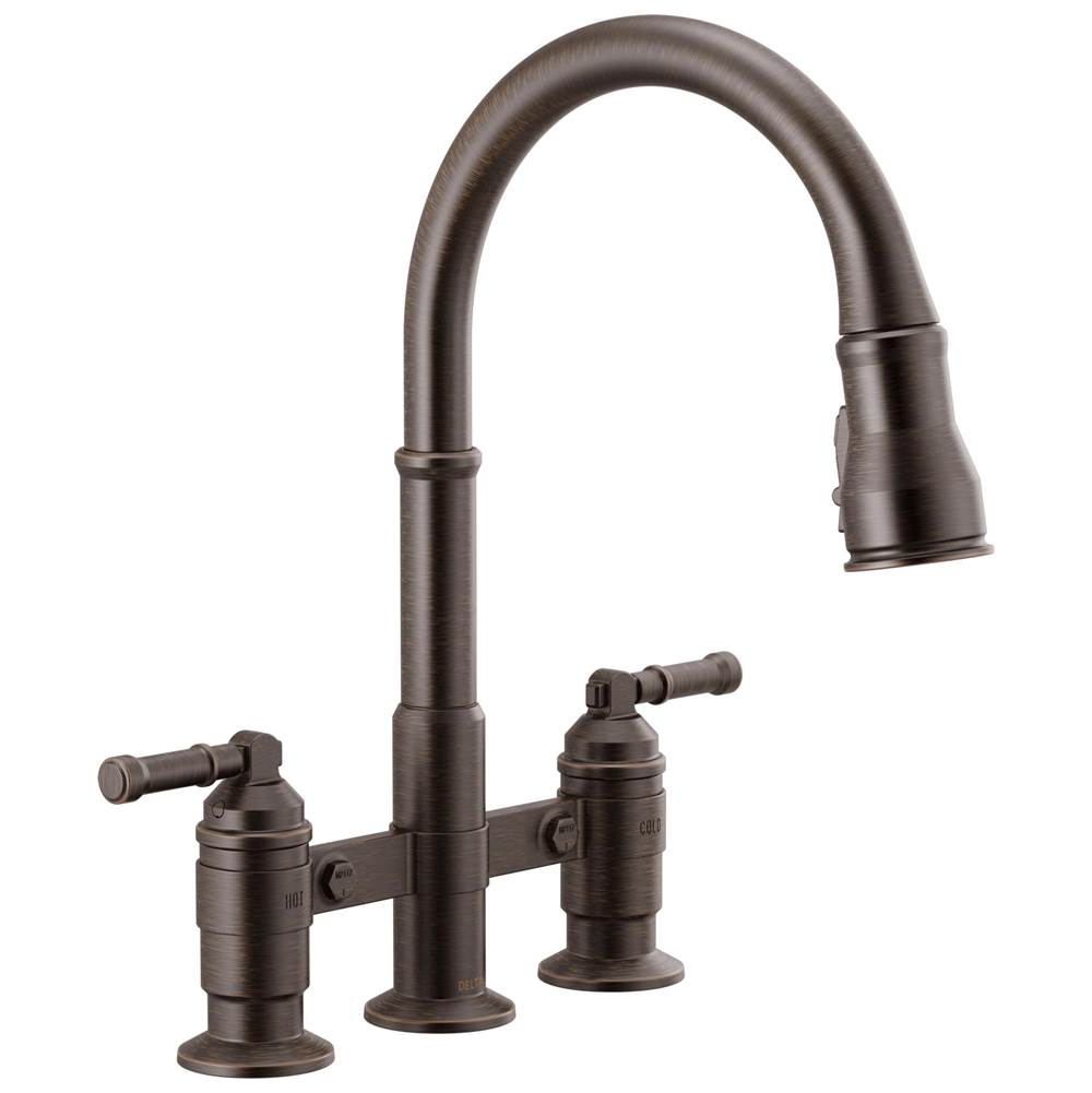 Delta Faucet Broderick: Two Handle Pull-Down Bridge Kitchen Faucet