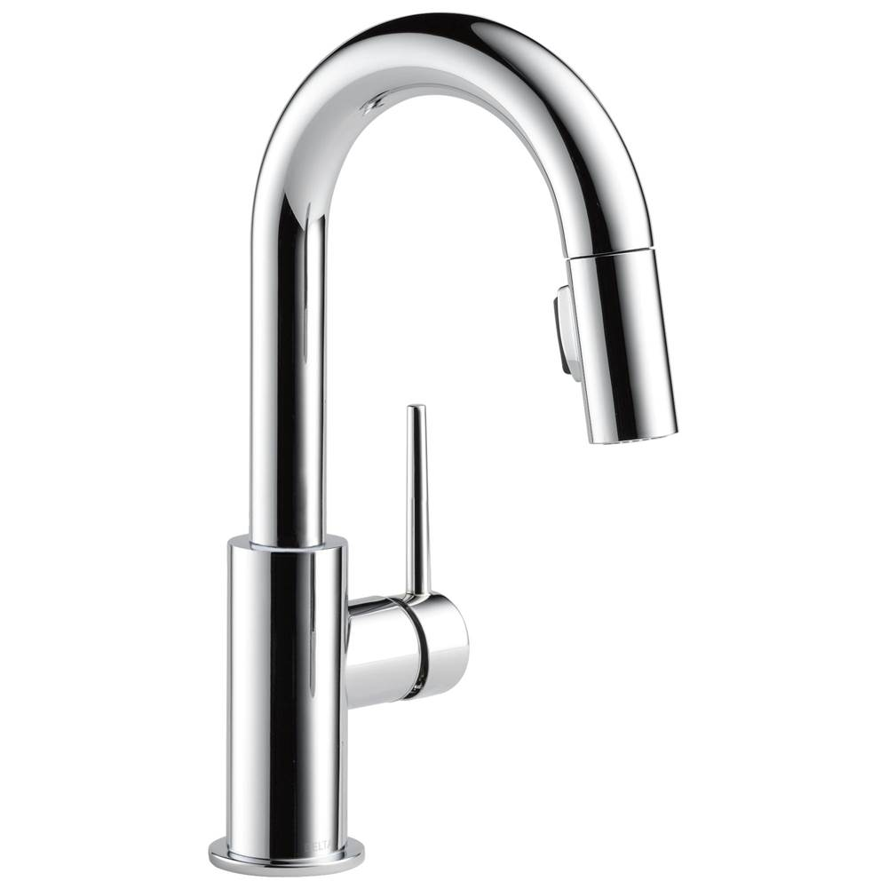 Delta Faucet Trinsic: Single Handle Pull-Down Bar/Prep Kitchen Limited Swivel