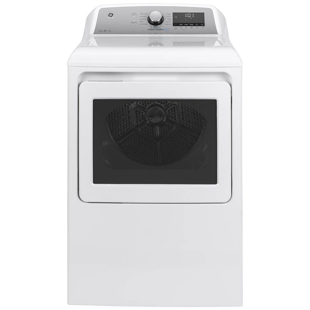 GE Appliances GE 7.4 cu. ft. Capacity Smart aluminized alloy drum Electric Dryer with HE Sensor Dry