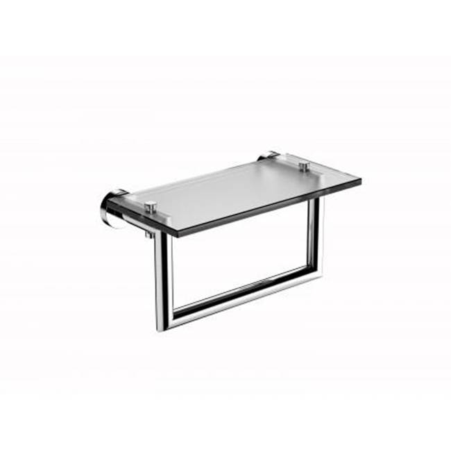 Kartners OSLO - 10'' Glass Shelf w/ Towel Rail Solid Back- Brushed Brass