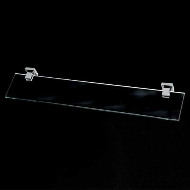Lacava Wall-mount clear glass shelf with chrome plated brass brackets.W: 23 5/8'' D: 4 3/4''