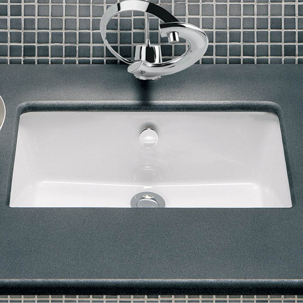 Lacava Under-counter porcelain Bathroom Sink with an overflow, unglazed exterior, 20 7/8''W, 13 1/8''D, 7 1/4''H