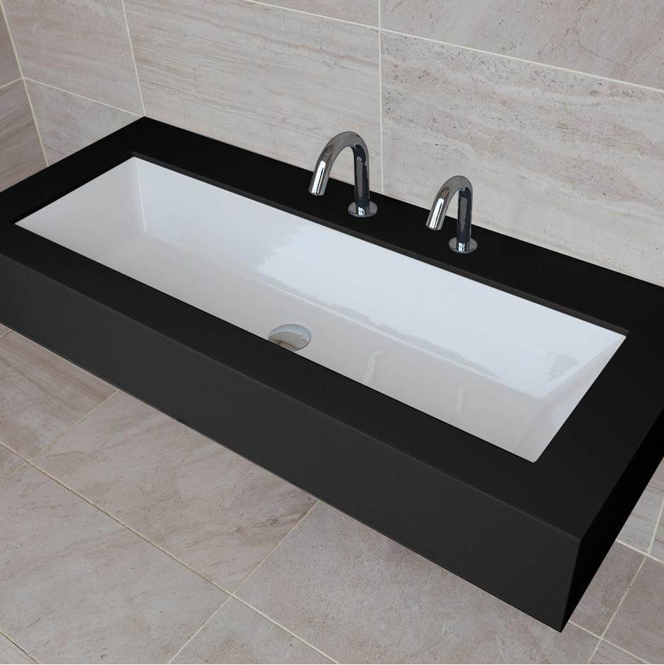 Lacava Under-counter or self-rimming porcelain Bathroom Sink with an overflow. W: 41 3/8'', D: 13 3/8'', H: 6 3/4''.