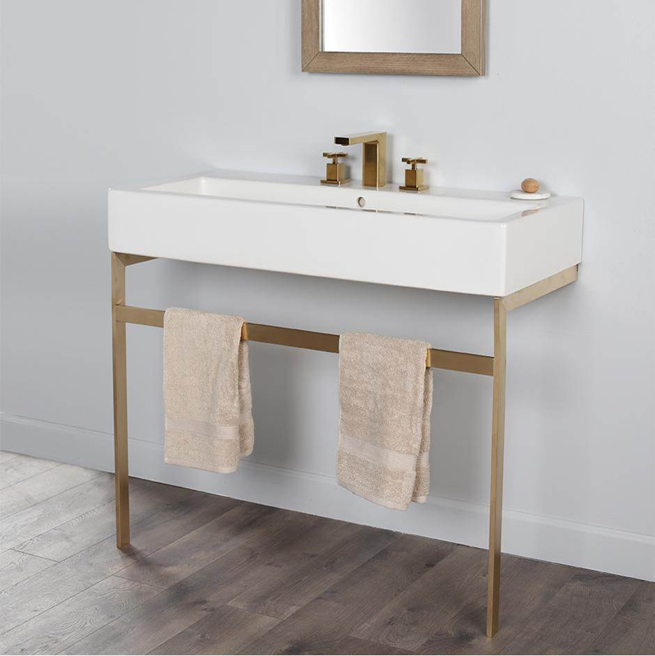Lacava Floor-standing metal console stand with a towel bar. It must be attached to a wall.W: 39 3/8'' D: 18 1/2'' H: 29''