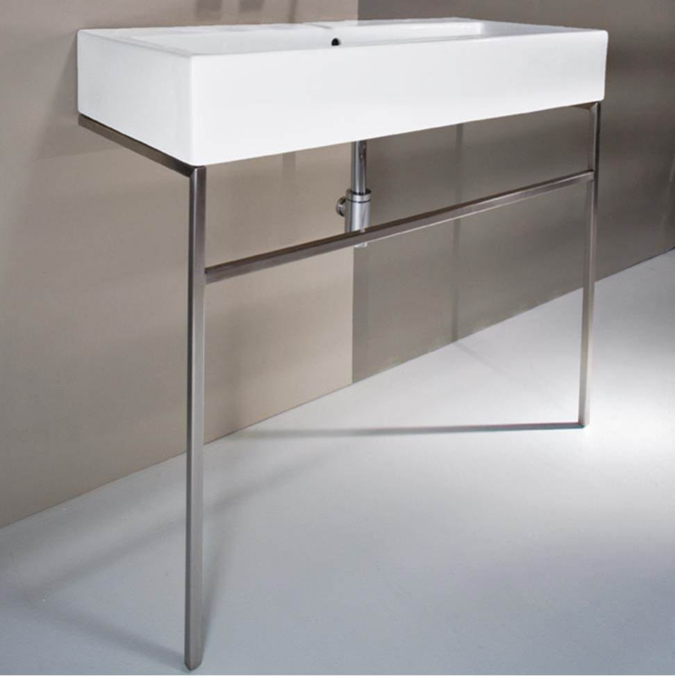 Lacava Floor-standing metal console stand with a towel bar. It must be attached to a wall.W: 39 3/8'' D: 18 1/2'' H: 29''-ADA COMPLIANT