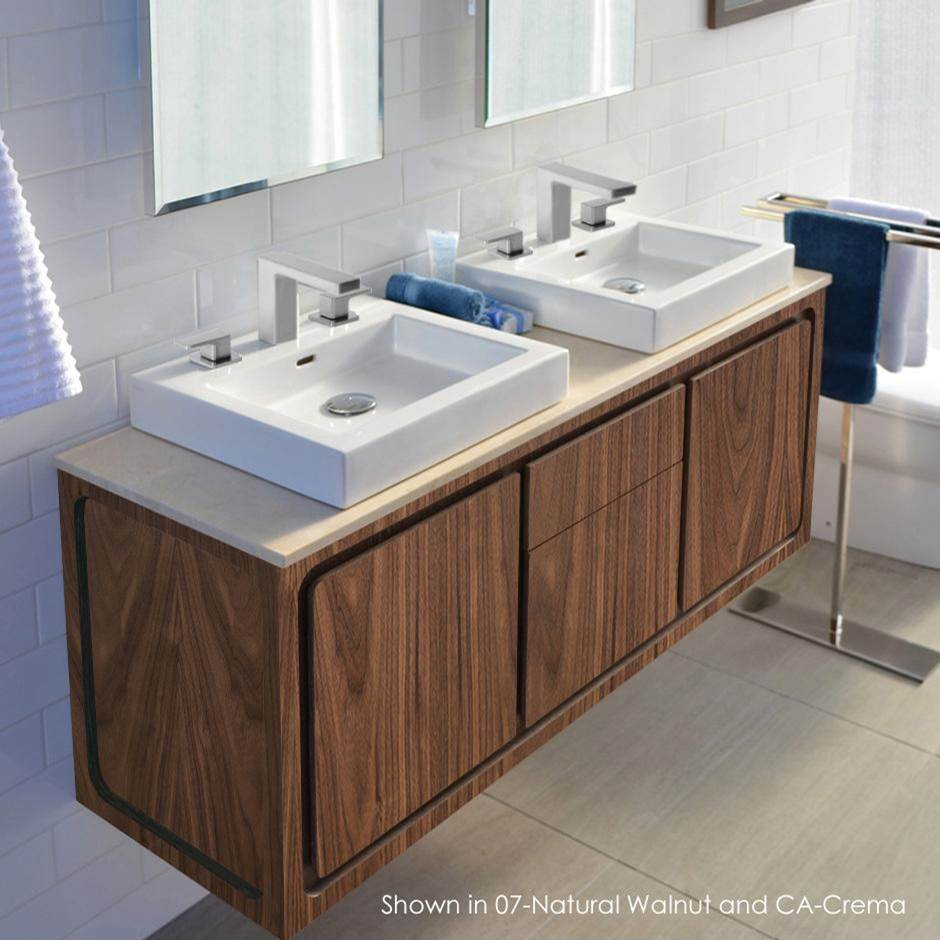 Lacava Wall-mount under-counter double vanity with 2 drawers and 2 doors Two-tone finishes are premium class and need to be specified in detail. W: 55'', D