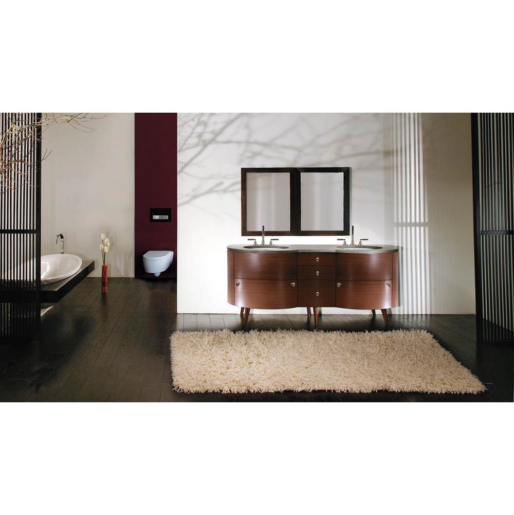 Lacava Free-standing under-counter double vanity, with five drawers and brushed nickel pulls. 72''W x 22 ''D x 31 1/2''H, countertop sold separately.