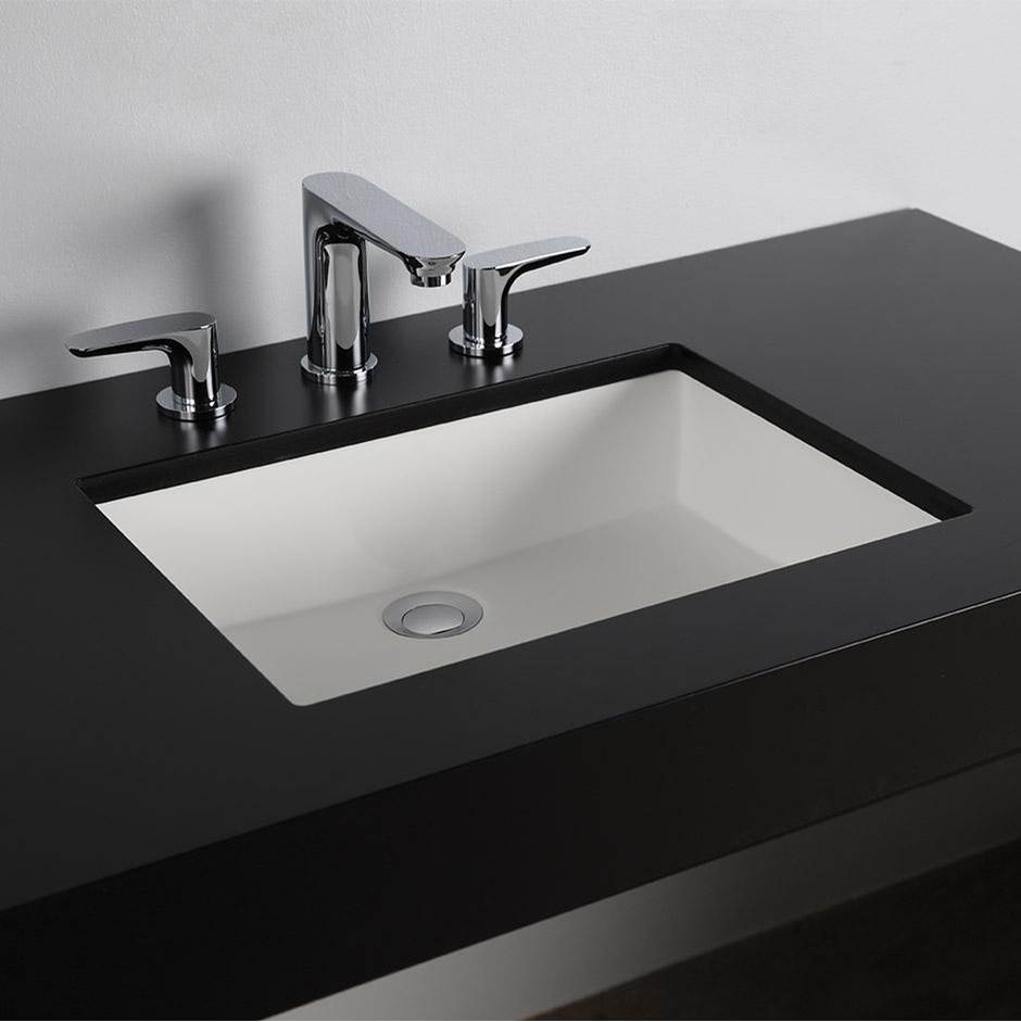 Lacava Under-counter Bathroom Sink made of solid surface with an overflow. W: 19 1/2'', D: 15'', H:5 3/4''
