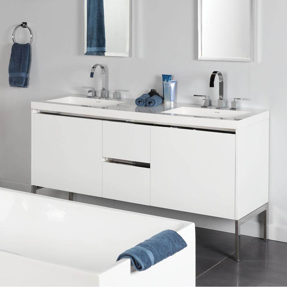 Lacava Wall-mount under-counter double vanity with a notch-back large drawer on left and right, and two small drawers on the center. Bathroom Sink H265T so