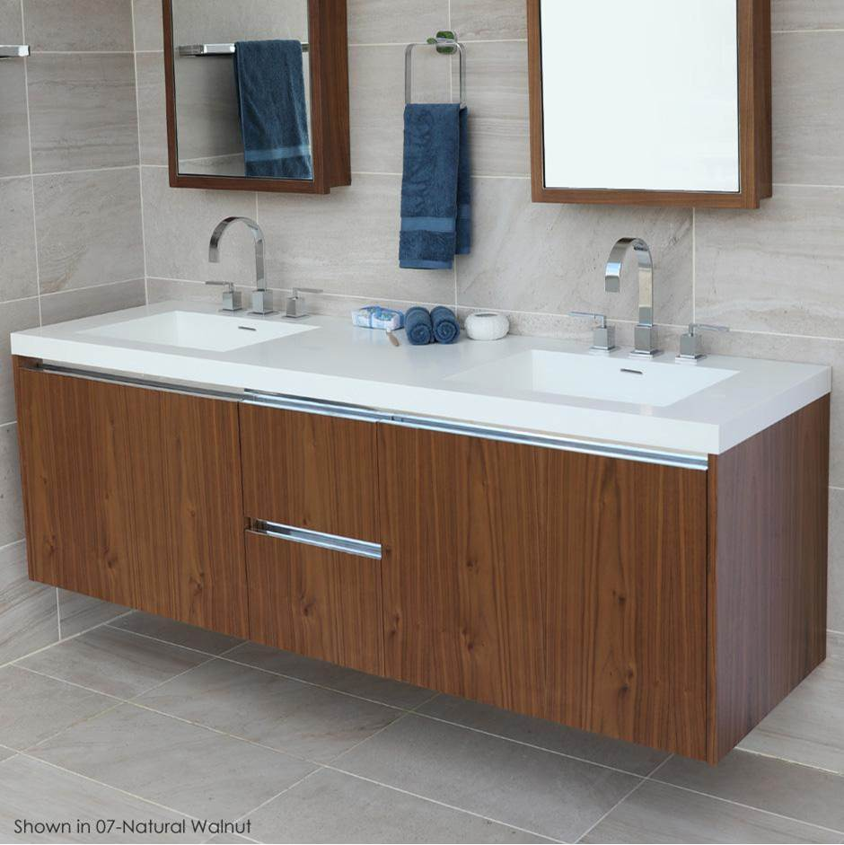Lacava Wall-mount under-counter double vanity with , a notch-back large drawer on left and right, and two small drawers on the center. Bathroom Sink H266T