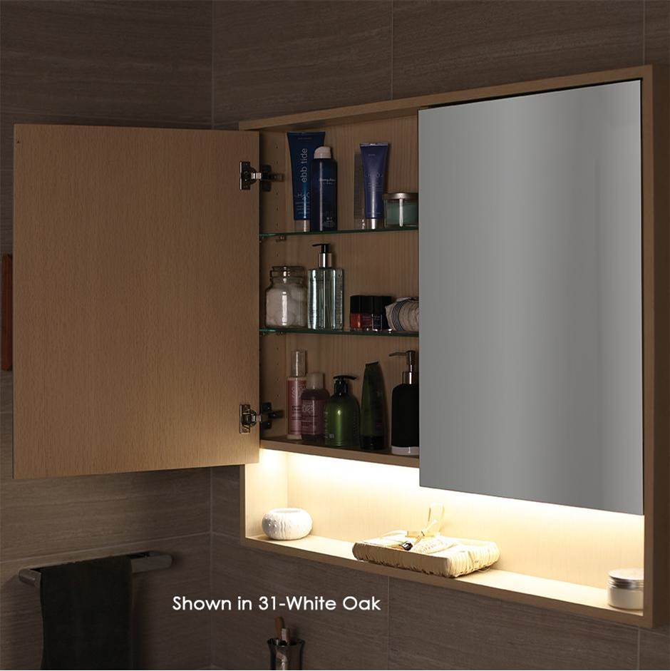 Lacava Surface-mount medicine cabinet with two mirrored doors, two adjustable glass shelves in each section and LED lights in cubby.  W: 41'', D: 5'', H: 3