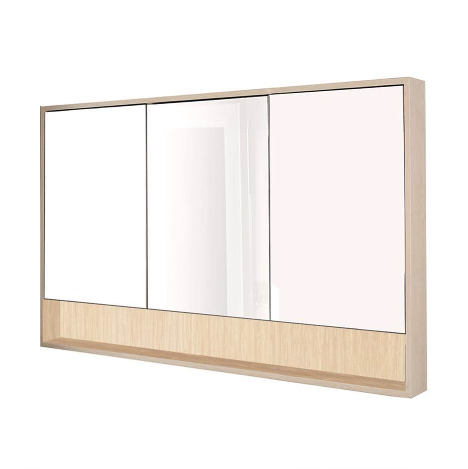 Lacava Surface-mount medicine cabinet with three mirrored doors, three adjustable glass shelves in each section and LED lights in cubby.  W: 53'', D: 5'',