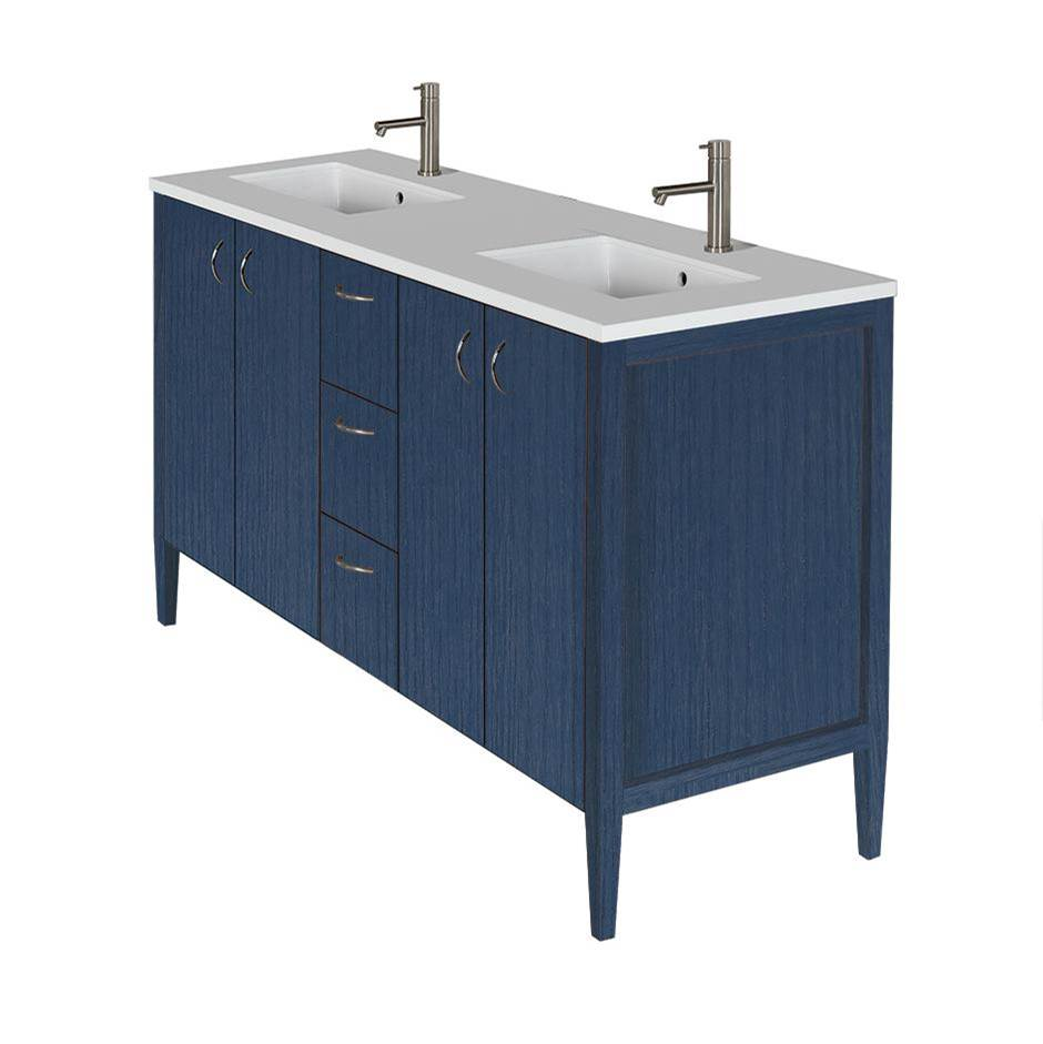 Lacava Free-standing under-counter double vanity with two sets of doors and three drawers(pulls included). Counterto LRS-60T and Bathroom Sink 5062UN are s