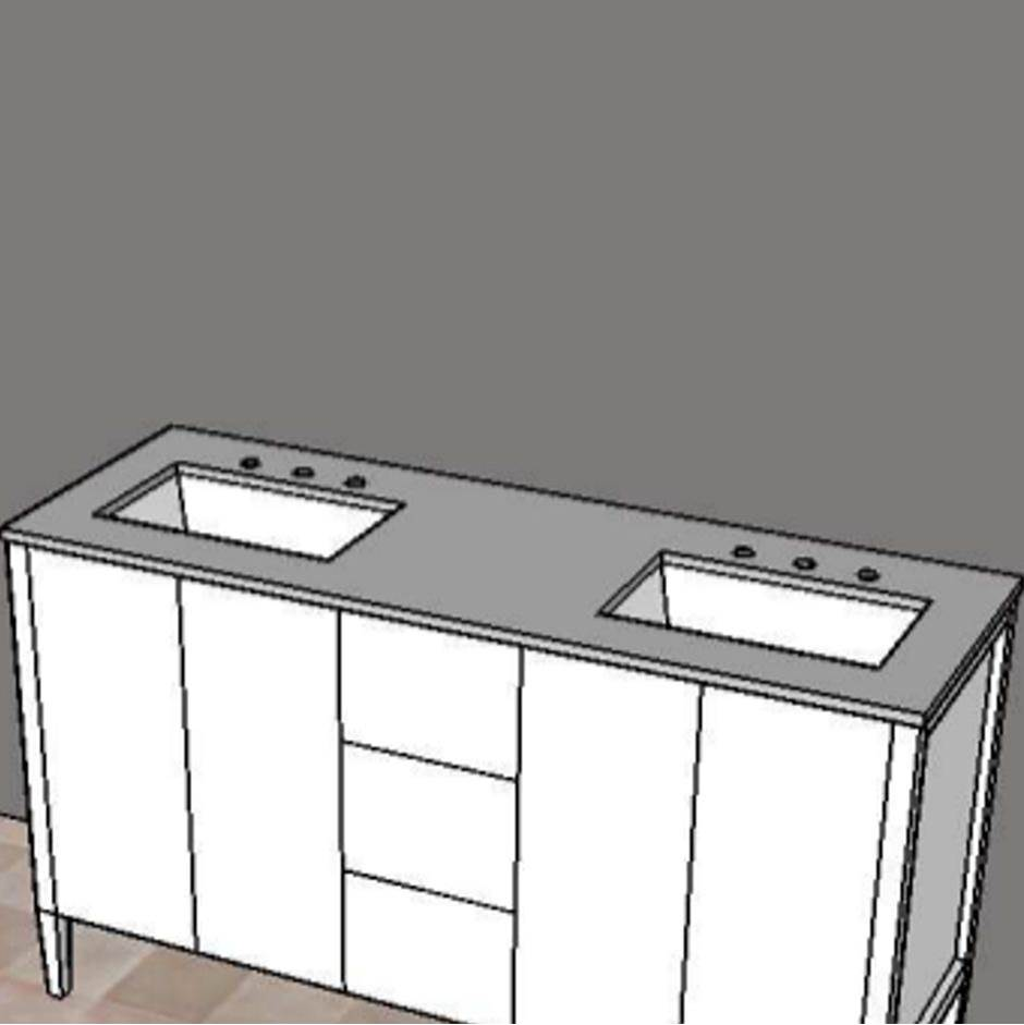 Lacava Counter top for double vanity LRS-F-60A with cut -outs for Bathroom Sink 5062UN. W: 60'', D: 21'', H: 3/4''.