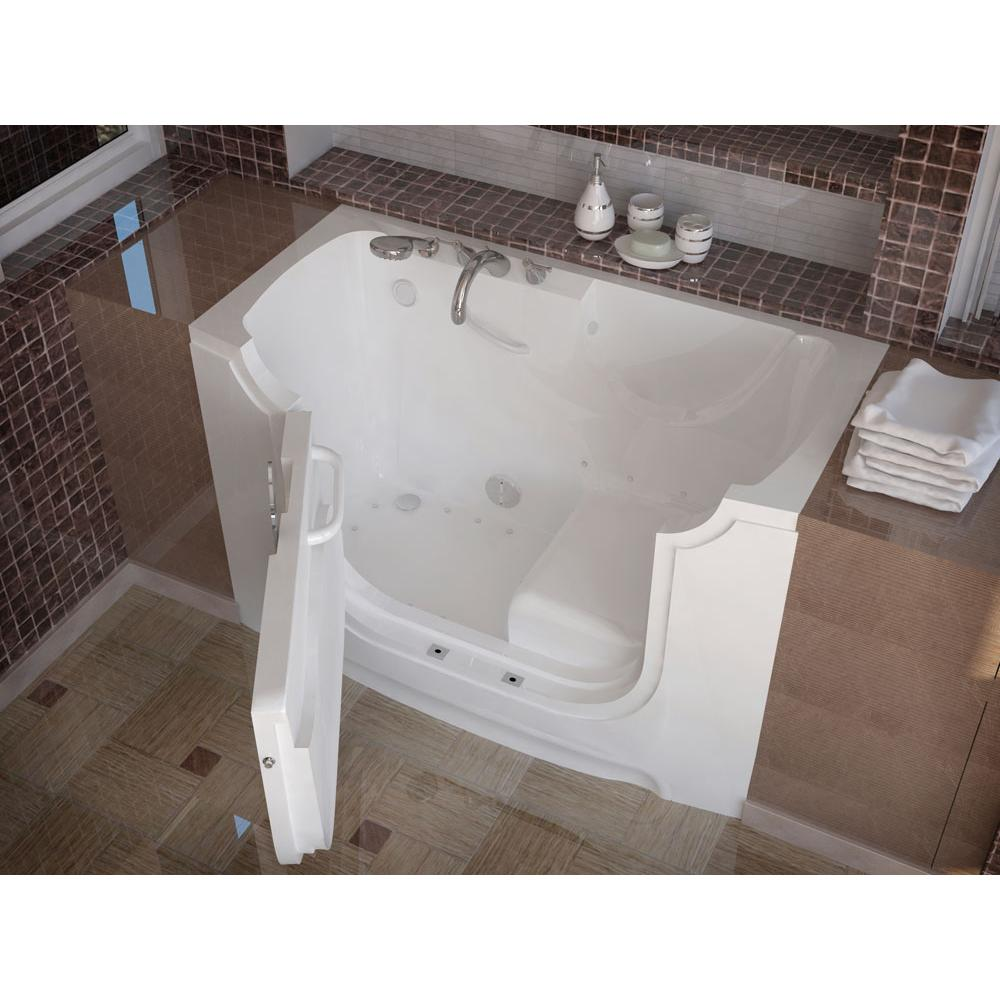Meditub MediTub Wheel Chair Accessible 30 x 60 Left Drain White Air Jetted Wheelchair Accessible Bathtub