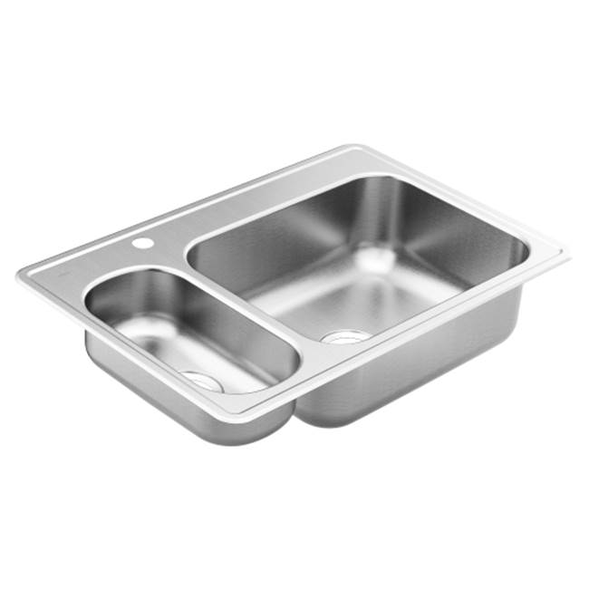 Moen 33''x22'' stainless steel 20 gauge double bowl drop in sink