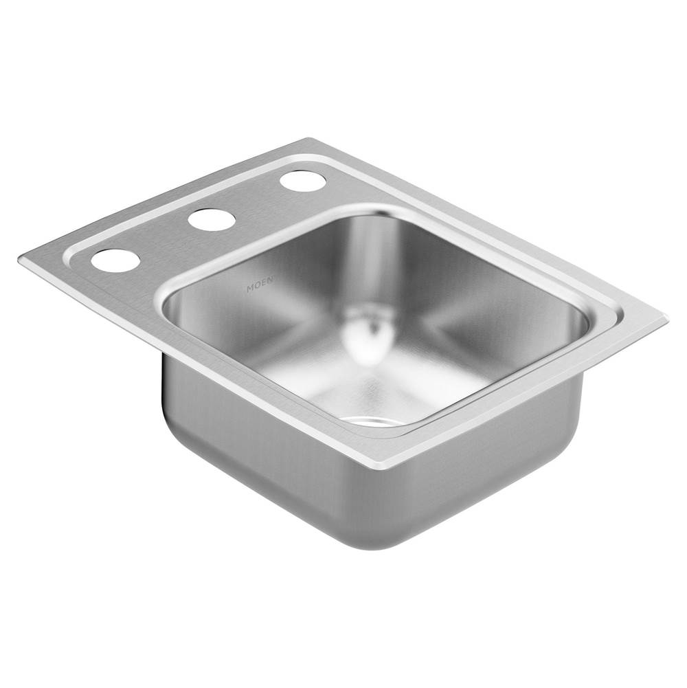 Moen 13''x17'' stainless steel 18 gauge single bowl drop in sink