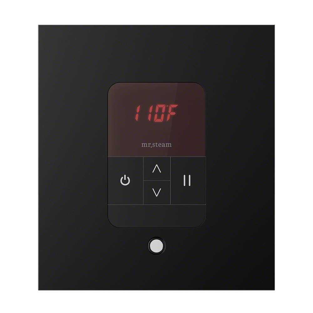 Mr. Steam iTempo Square Steam Shower Control in Matte Black with Polished Chrome Bezel