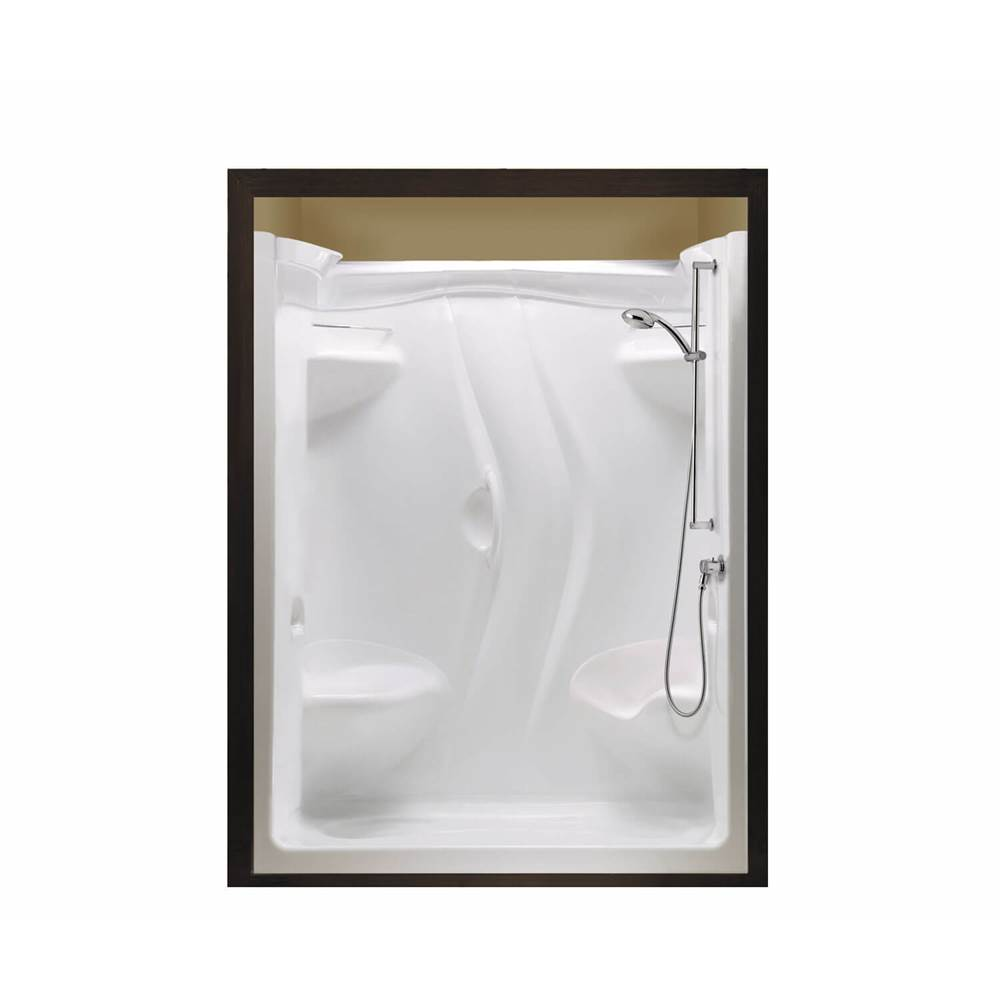 Maax Stamina 60-II 59.5 in. x 35.75 in. x 76.375 in. 1-piece Shower with Left Seat, Left Drain in White