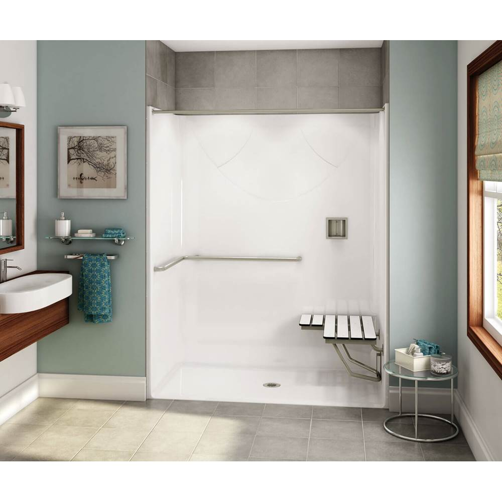 Maax OPS-6030 - with ADA/ANSI Grab Bar and Seat 60 in. x 30.25 in. x 76.625 in. 1-piece Shower with Left-hand Grab Bar, Center Drain in Black
