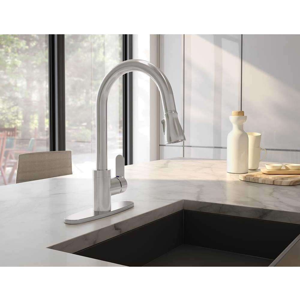 Symmons Identity Single-Handle Pull-Down Sprayer Kitchen Faucet with Deck Plate in Stainless Steel (1.5 GPM)