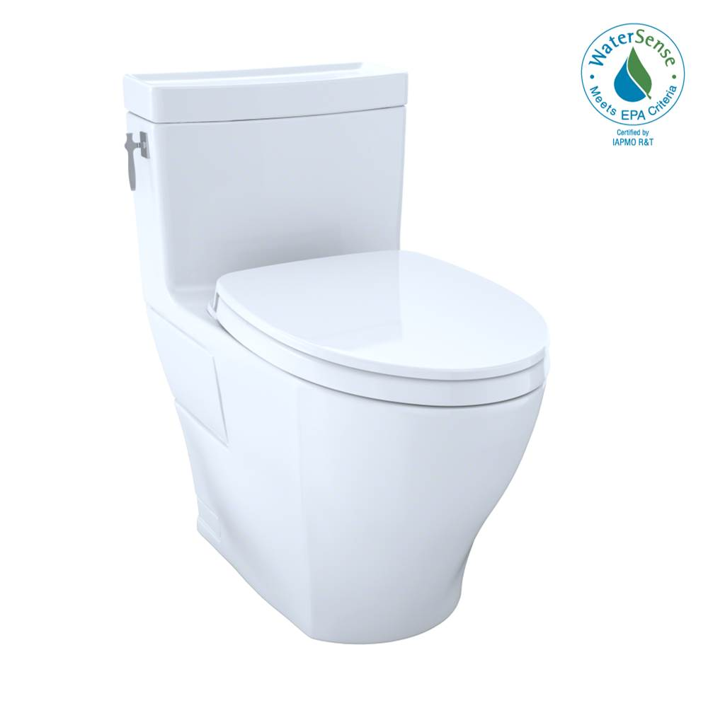 Toto Aimes WASHLET+ One-Piece Elongated 1.28 GPF Universal Height Skirted Toilet with CEFIONTECT, Colonial White