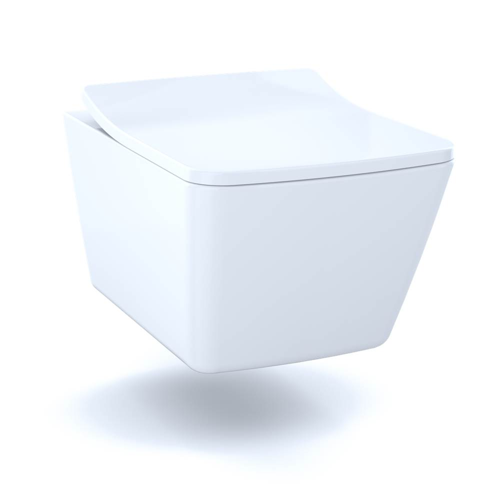 Toto SP Wall-Hung Contemporary Square-Shape Dual Flush 1.28 and 0.9 GPF Toilet with CEFIONTECT®-