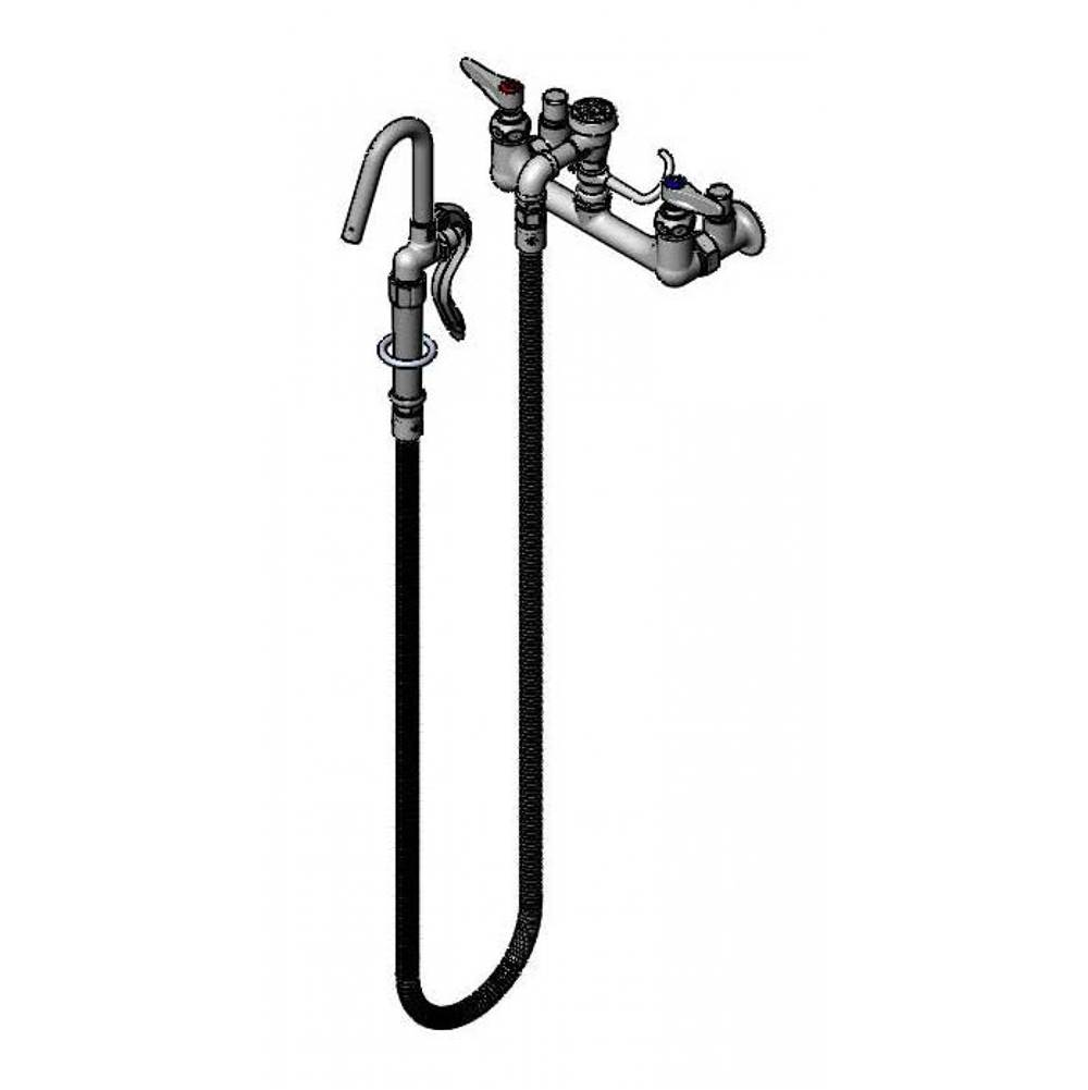 T&S Brass Pot Filler, Wall Mount, 8'' Centers, Vac. Breaker, 68'' Hose, Hook Nozzle, JJ Inlets