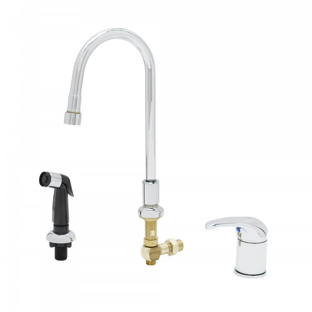 T&S Brass Single Lever Side Mount Control, Sidespray, Rigid Gooseneck, Vandal Resistant Aerator